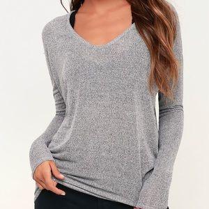 Lulus Gray Knit Long Sleeve V-Neck Top
